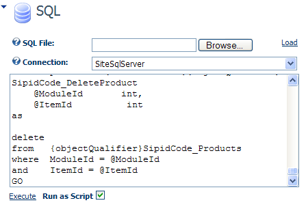 Execute SQL