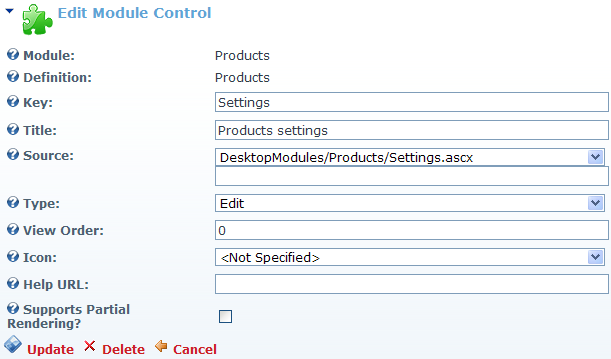 Settings control definition