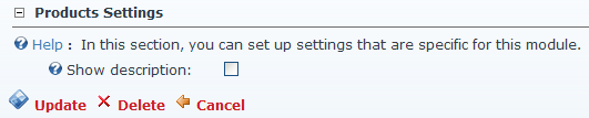 Settings custom section