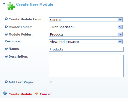 Create module screen